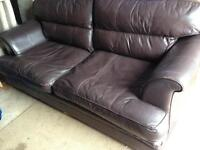 Leather 4 seat quality DFS brown sofa setee