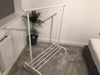 White Grey 1 Metre Clothes Rail Wardrobe Hanging Shelf BARGAIN