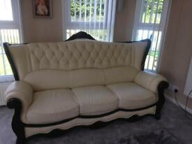3seater+2seater cream leather sofas