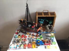 Playmobil bundle - pirate ship & helicopter +23 figures and much more.