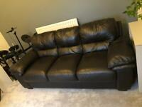 Leather sofa - dark brown, 3 seater