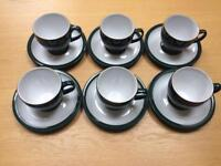 Denby Greenwich 6x Cups and Saucers