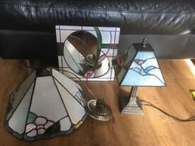 lead glass lamp ,ceiling light & mirror