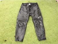 Alpinestars leather motorbike trousers