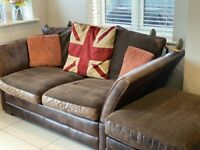 Classic Barker and Stonehouse sofa and footstool. Rustic brown leather, reversible cushion