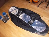 Snowboard 160cm, Bindings, Boots size 9 and Bag