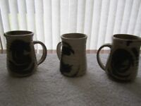 Moffat Pottery Scotland - Three handcrafted mugs impressed by Gerard T Lyons, Moffat in genuine