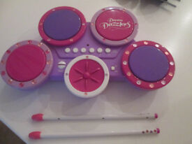 GIRLS PINK/PURPLE DREAM DAZZLERS MUSICAL DRUMS SET - BATTERY OPERATED - VGC