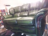 green 3 seater leather sofa