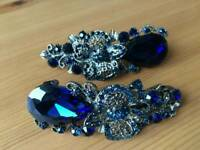 Beautiful blue crystal flower hair accessories new