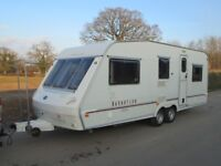 ABI MANHATTAN 600/6 six berth twin axle touring caravan, brilliant layout, lightweight for its size.