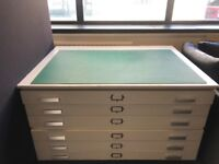 Hardwood plan chest with formica outside surface and six drawers