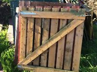 Wooden gates, hand made. 3ft square approx with hinges