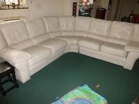 Cream Leather 3 piece Corner Sofa - Excellent Condition