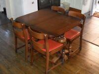 old oak art deco table and chairs 1930s