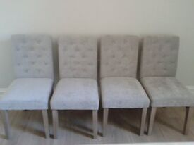 Next Moda 2 Button Dining Chairs Velour Mid Silver Grey Lilac AS NEW set of 4 RRP £540
