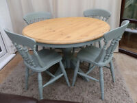Round Pine Table and 4 Chairs in Duck Egg Blue