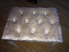 Silver crushed velvet diamanté bling bedroom stool