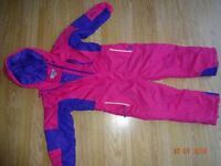 Girl's ski suit, age 5-6 (110-116cm), pink & purple. Warm & in perfect condition