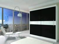 Modern Sliding doors WARDROBE Lacobel Glass + FREE ON LED LIGHTS