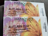 Harrogate Flower Show Tickets x 2 Valid Any Day 14th - 16th September 2018