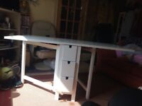 Ikea gate leg folding table with 6 end drawers