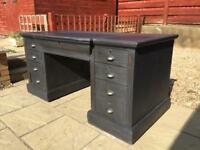 Large Antique Painted Slate Grey Twin Pedestal Desk by W Walker & Sons FREE DELIVERY