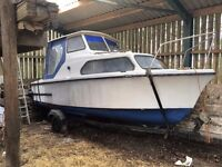 18ft project boat for sale with trailer and 25HP outboard Yamaha motor,