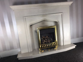 Beautiful Marble Fireplace with Gas Fire and lights