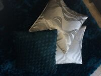 Cushions x 6- Teal from Next & Silver Dunelm filled Top Condition