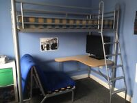 Metal frame higher sleeper single bed with desk chair bed and mattress