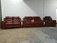 FAB SOFAS FRANCIS BROWN LEATHER RECLINING SUITE 2 & 3 SEATER RECLINING SOFAS POWER RECLINER ARMCHAIR