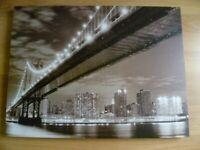 Brooklyn Bridge At Night New York City Skyline Canvas Print Framed Wall Art 32x24 inches