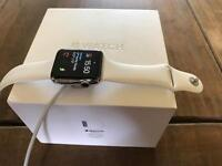 Apple Watch, S2 Stainless Steel 42mm (White Sport Band)