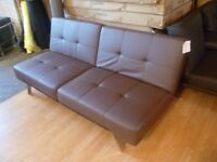 Brown Faux Leather 3 Seater Sofa Bed