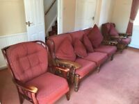 Comfy 3 Piece Suite - Solid Wooden Frame 3 Seater Settee and 2 Chairs with Matching Cushions