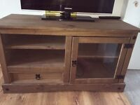 Solid dark oak TV stand £60