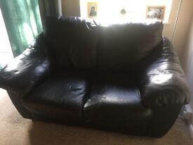 Black 2 & 3 seater Leather sofas