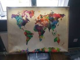 large canvas map of the world