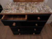 Ucycled Painted black chest of drawer with decoupage top