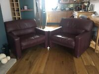 2 Vintage Armchairs. Beautiful burgundy leather armchairs from 1981 Holland.