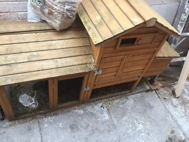2 rabbits and 2 story hutch