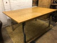 Contemporary modern solid oak top extending dining table