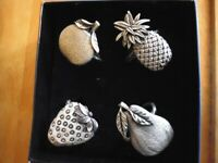 Set of 4 Pewter Fruit Napkin Rings - Pineapple, Strawberry, Apple, Pear New Boxed