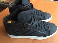 Luxurious limited edition Lanvin x Acne Jeans Denim Hi Top mens sneakers, 43 / uk9, rrp £450