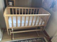 Crib , mattress and waterproof fitted sheet