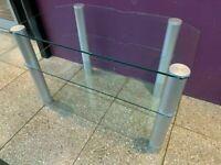 Alphason clear glass corner tv stand