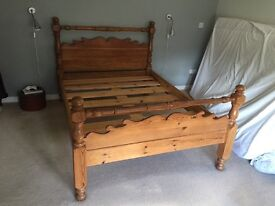 Solid Antique Pine Double Bed Frame