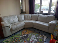 Large Cream Leather Corner Sofa
