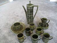 Vintage Portmeirion Green Totem Coffee Set